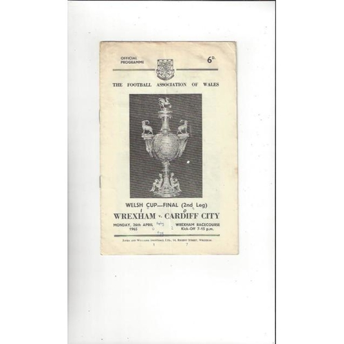 1965 Wrexham v Cardiff City Welsh Cup Final Football Programme