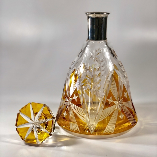 Bohemian amber glass and silver collar decanter