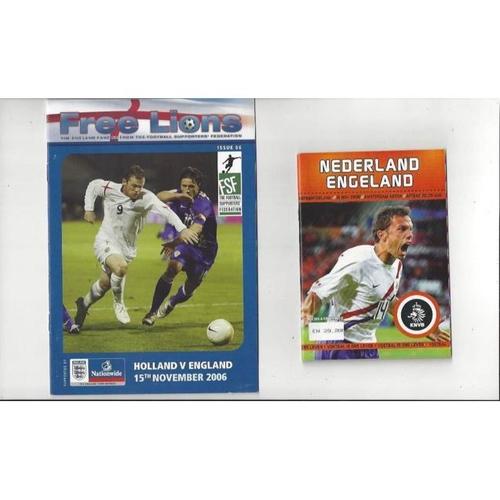 2006 Holland v England Football Programme + The Three Lions Fanzine