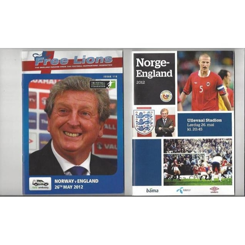 2012 Norway v England International Football Programme + The Three Lions Fanzine