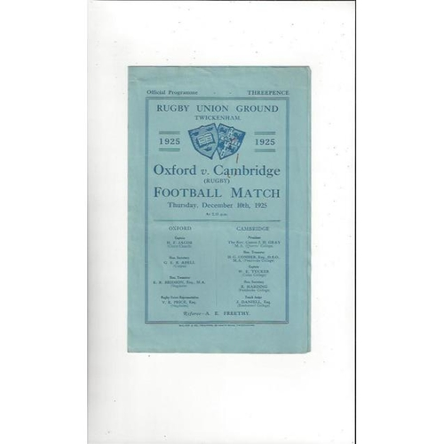 1925 Oxford v Cambridge Rugby Union Programme
