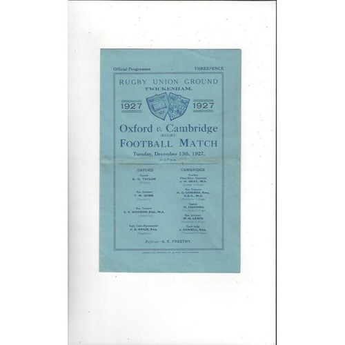 1927 Oxford v Cambridge Rugby Union Programme
