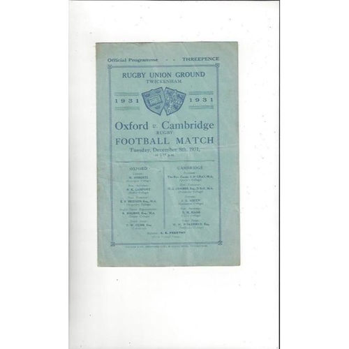 1931 Oxford v Cambridge Rugby Union Programme