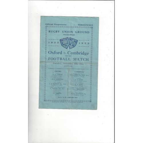 1932 Oxford v Cambridge Rugby Union Programme
