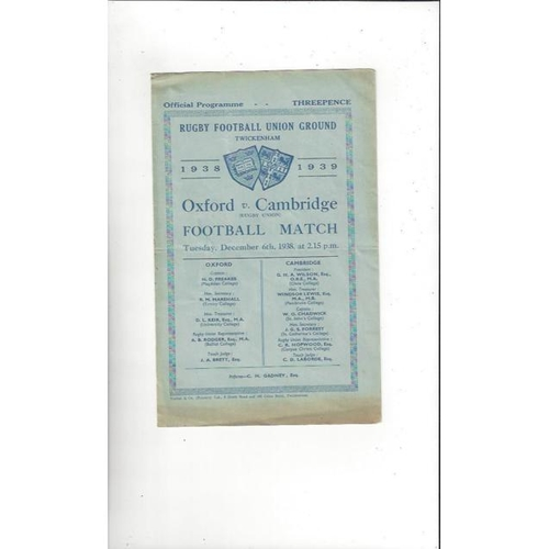 1938 Oxford v Cambridge Rugby Union Programme