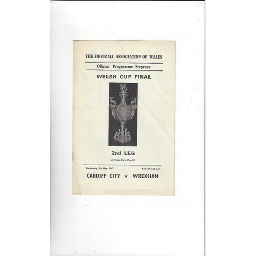 1967 Cardiff City v Wrexham Welsh Cup Final Football Programme