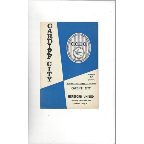 1968 Cardiff City v Hereford United Welsh Cup Final Football Programme