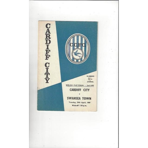 1969 Cardiff City v Swansea Welsh Cup Final Football Programme