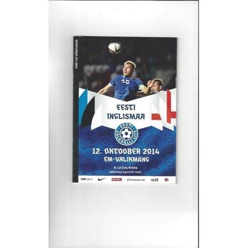2014 Estonia v England Football Programme