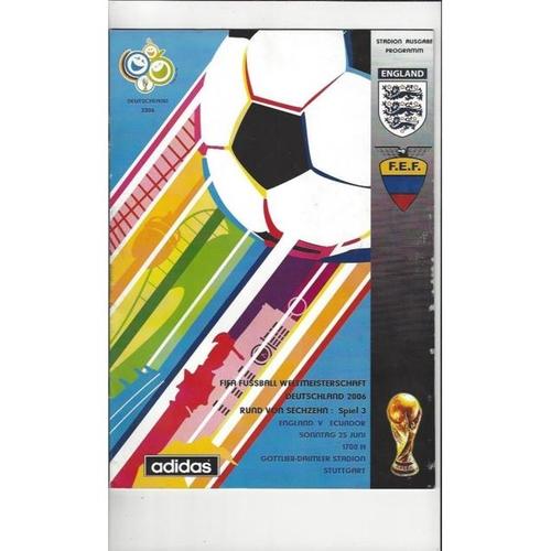 2006 Ecuador v England World Cup Finals Football Programme