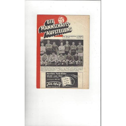 1965 West Germany v England Football Programme Stadium Edition