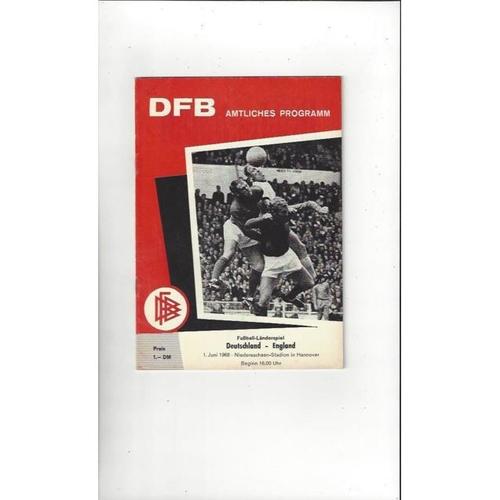 1968 West Germany v England Football Programme