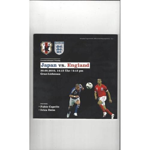 2010 Japan v England Football Programme + Three Lions Fanzine