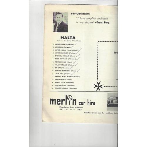 1971 Malta v England Football Programme  White Cover Edition