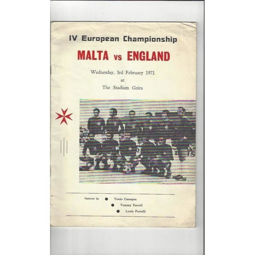 1971 Malta v England Football Programme  White Cover Edition