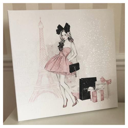 Glitter Canvas Parisian Girl