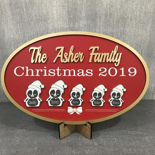 """"""" Penguin family """" Christmas sign"""