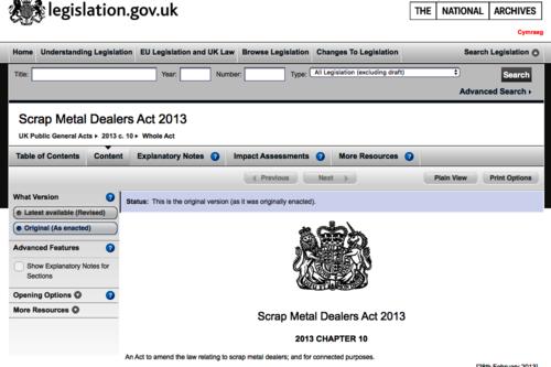 Scrap Metal Dealers Act 2013