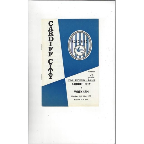 1975 Cardiff City v Wrexham Welsh Cup Final Football Programme