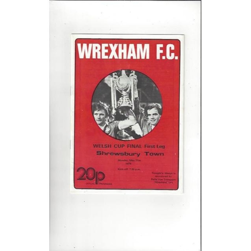 1979 Wrexham v Shrewsbury Town Welsh Cup Final Football Programme