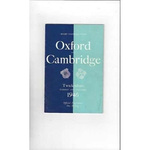 1946 Oxford v Cambridge Rugby Union Programme