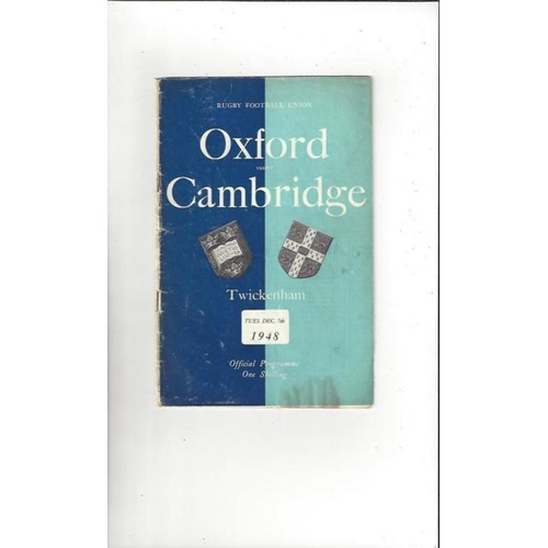 1948 Oxford v Cambridge Rugby Union Programme