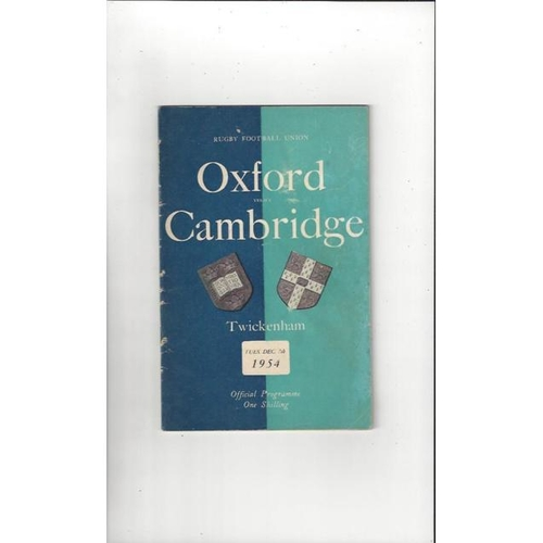 1954 Oxford v Cambridge Rugby Union Programme