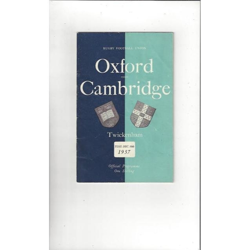 1957 Oxford v Cambridge Rugby Union Programme
