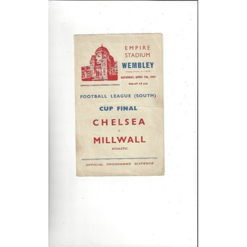 1945 Chelsea v Millwall League South Cup Final Football Programme