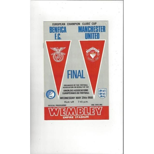 1968 Benfica v Manchester United European Cup Final Football Programme