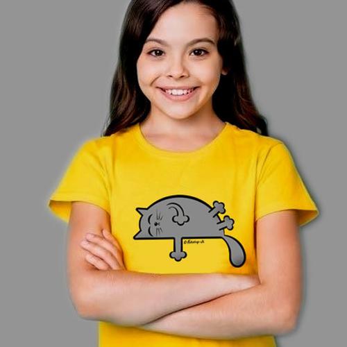 'Grey Sleepy Cat' T-Shirt