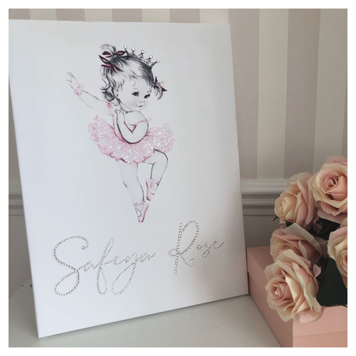 Glitter Canvas Personalised Ballerina