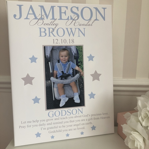 Godchild Personalised Photo Glitter Canvas