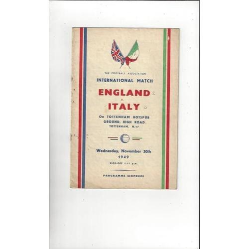 1949 England v Italy Football Programme @ Tottenham Hotspur