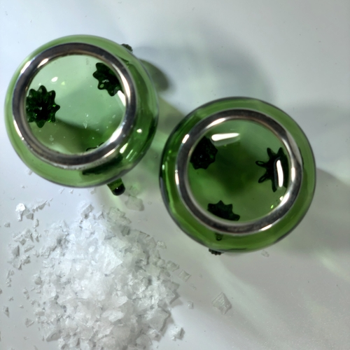 Pair Edwardian silver and green glass salts 1904