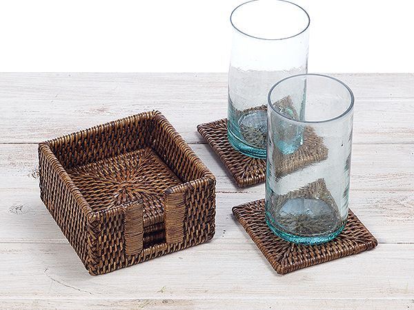 Rattan Square Coasters - Set of 6 with Holder by 12cmX 12cm x 6cm