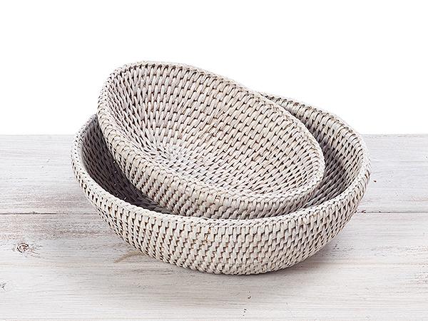 Rattan Oval Baskets, Bread Basket (Set of 2)
