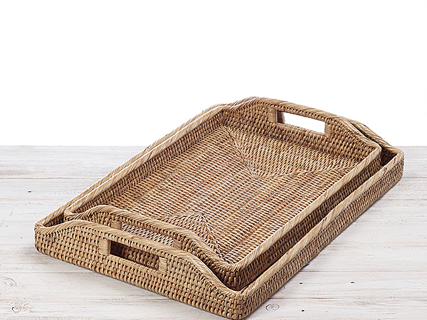 Rattan Rectangular Morning Tray -