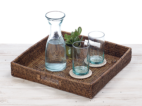 Rattan Classic Square Serving Tray -  Hand Woven in Burma.