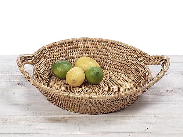 URU Rattan  Fruit Basket / Serving Tray Basket - Hand Woven in Burma