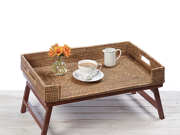 Morning Breakfast Serving Tray Table - L65cm X W40cm X H10cm ( 40cm including legs)