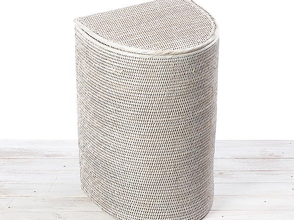 URU Lune Laundry Hamper /Half Moon Laundry Basket (including liner with loops ,leather string Lid)
