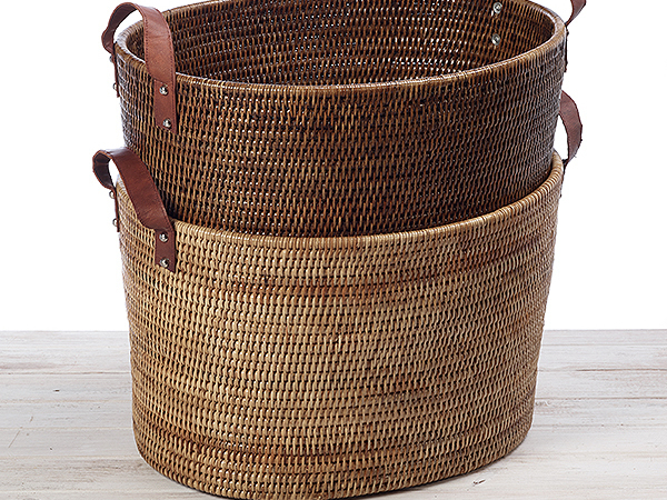 Oval Vertical Family Storage Basket with Leather Handle