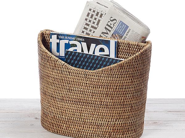 URU Rattan Newspaper Magazine Basket Storage Holder -  L37 x W23 x H31cm