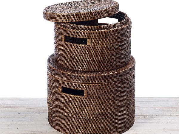 Rattan Round Family Storage Box with Lid - (S) Dia 30 x H 20  (L) Dia 35 x H 26