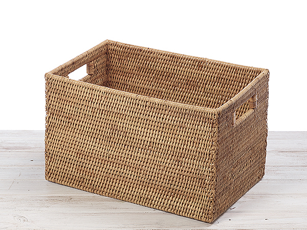 Rattan Classic  Rectangular Tote Storage Basket -L41X W27 X H25cm