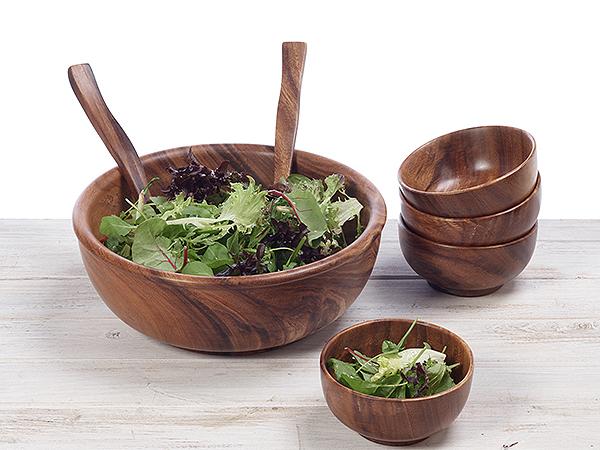 Hand Turned Hard Wood Round Salad Bowl / Fruit Bowl