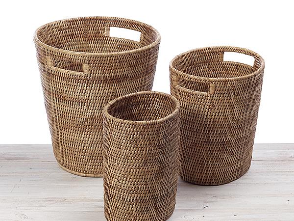 Round Waste Paper Basket With Insert Handle