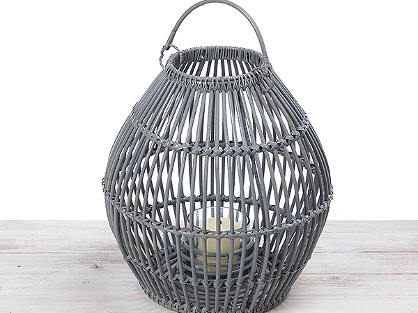 Oval Shape Rattan Lantern with Hand Blown Candleholder
