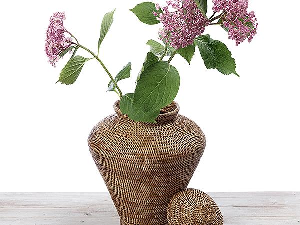 URU Rattan Flower Vase - Hand Woven in Burma